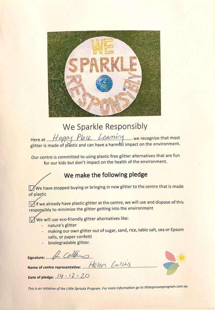 Example of a signed 'We Sparkle Responsibly' pledge